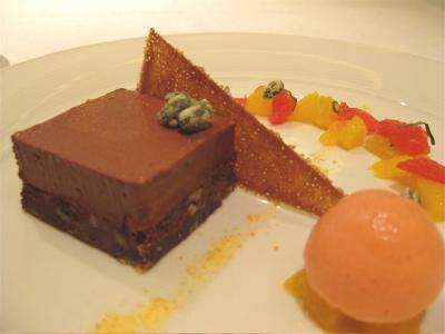 chocolate brownie with bloord oranges