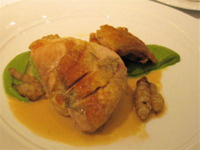 roasted guinea fowl with braised thigh, crosnes and Savoy cabbage puree