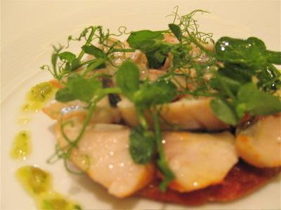 grilled mackerel tart with confit lemon green olive vinaigrette