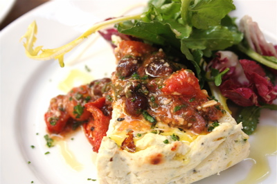 baked ricotta with olive and tomato crush