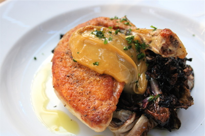 roasted guinea fowl with grilled radicchio and balsamic mayonnaise