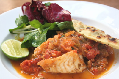 monkfish curry with coconut milk, kaffir lime leaves and bhatura