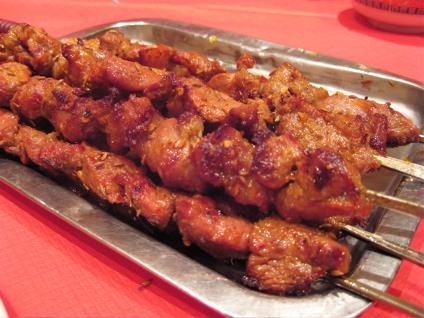 grilled lamb skewers at Gourmet San