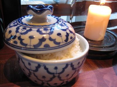 pretty rice crockery at Busaba Eathai