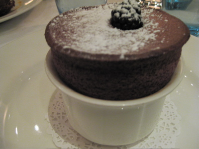 blackberry souffle at Galvin Bistro