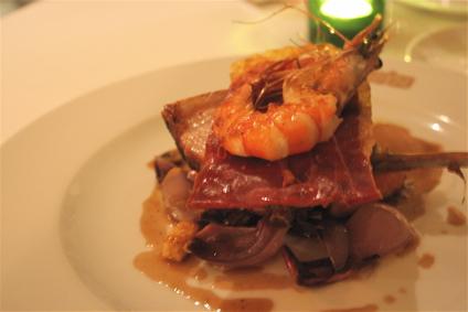 roasted pork loin with honeyed prawn