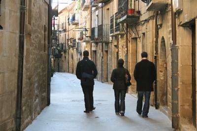 walking the medieval streets of Laguardia, Spain