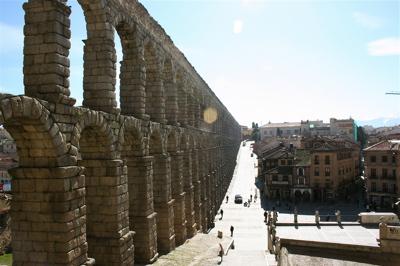 old Roman aqueduct in Segovia