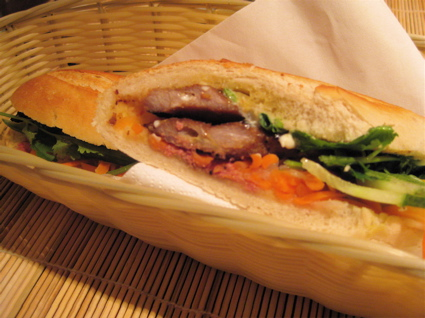 grilled pork banh mi at Banzi restaurant, London