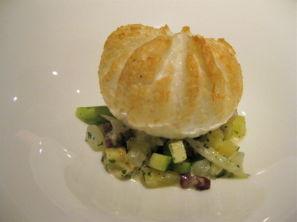 "egg ""souffle"" with vegetables at Gresca restaurant, Barcelona"