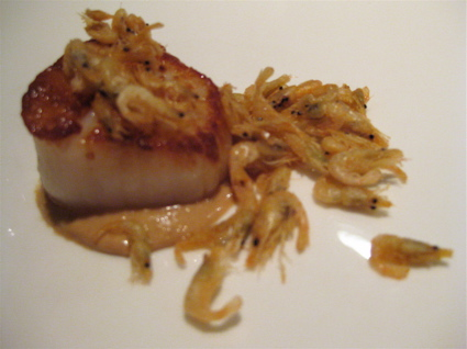 seared scallop and tiny shrimp at Gresca