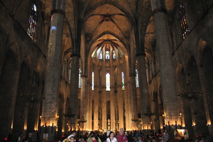 spacious and gracious interior of Santa Maria del Mar cathedral, Barcelona