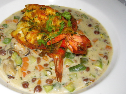 allepy konch (roasted prawns in a seafood-coconut broth) at Moti Mahal