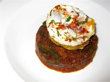 sorpotel (boar stew) with poached egg at Moti Mahal