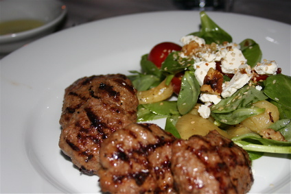 clove-flavored lamb kofte with goat cheese salad