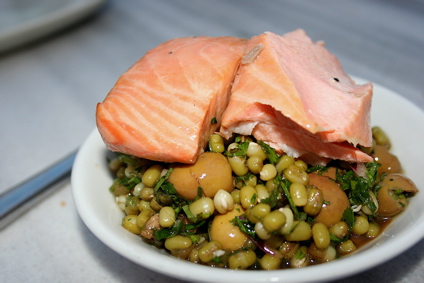 cold mezze of salmon and assorted legumes