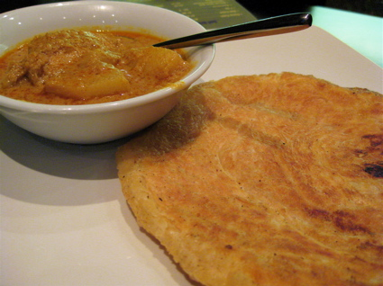roti canai at Sedap Malaysian restaurant in Clerkenwell