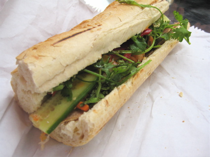 pork banh mi from Banhmi11, at the Ca Phe coffee stand in Broadway Market