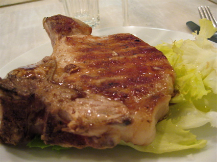 grilled pork chop at Bocca di Lupo