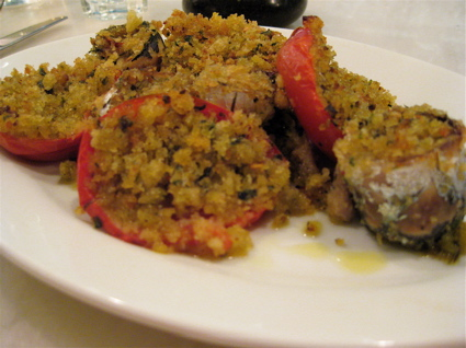 stuffed tomatoes and sardines