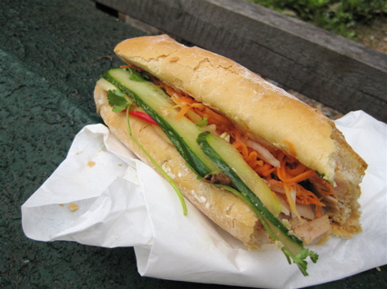 a (half-eaten) pork banh mi from Caphe House