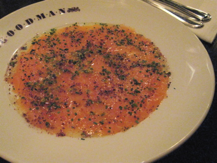 salmon carpaccio at Goodman