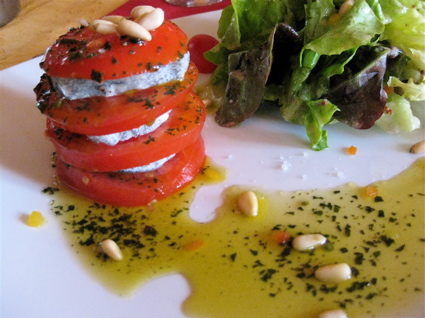 Tomato-chevre millefeuille at La Chancelliere in Chaumont-sur-Loire, France