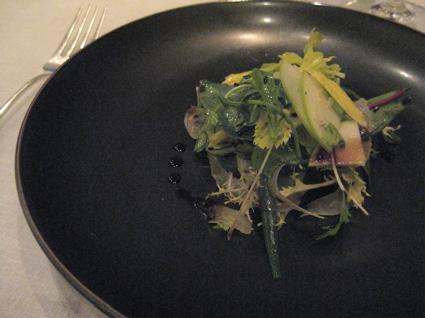 herb salad with apples and cider vinaigrette
