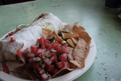 breakfast burrito at Tacos Por Favor