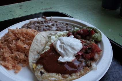 huevos rancheros at Tacos Por Favor