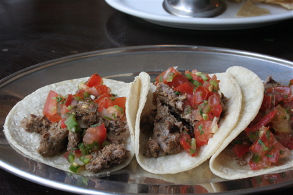 steak tacos at Boho Mexica