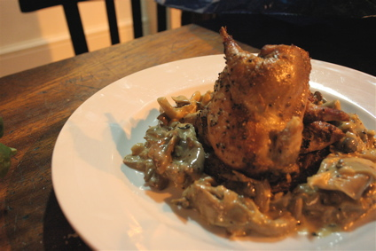roast partridge with mushroom cream sauce