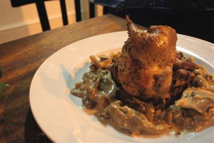 roast partridge with mushroom cream sauce