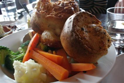 Yorkshire pudding and veg at Sunday roast