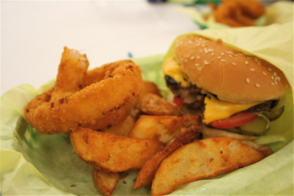 burger, fries and onion rings from Hodad's in San Diego