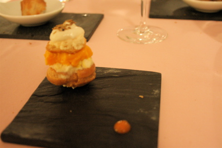 Munster profiterole with carrot-cumin sorbet