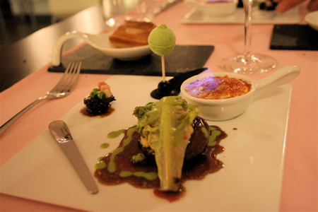 Drome pigeon filet with petits pois ice cream and creme brulee