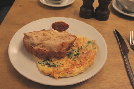 omelet with ham spinach and cheddar (£8)