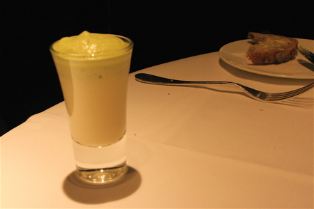 hot-cold leek soup amuse at Launceston Place restaurant